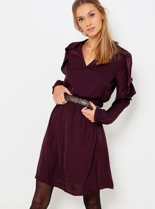 Vínové bodkované šaty CAMAIEU