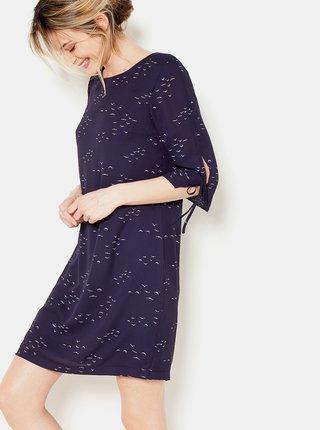 Tmavomodré vzorované šaty s 3/4 rukávom CAMAIEU