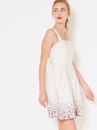 Biele bodkované šaty na ramienka CAMAIEU