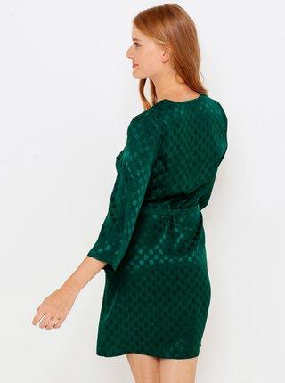 Tmavě zelené kostkované šaty s 3/4 rukávem CAMAIEU