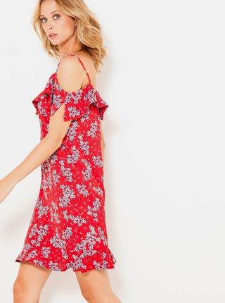 Červené kvetované šaty na ramienka CAMAIEU