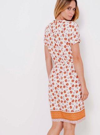 Oranžovo-biele kvetované šaty CAMAIEU