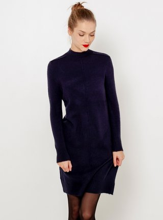 Tmavomodré svetrové šaty so stojačikom CAMAIEU
