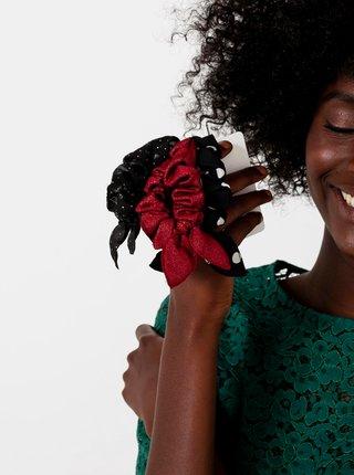 Sada tří gumiček v černé a červené barvě CAMAIEU