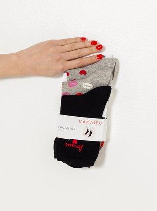 Šedé vzorované ponožky CAMAIEU