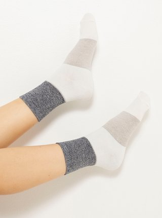 Šedo-krémové pruhované ponožky CAMAIEU