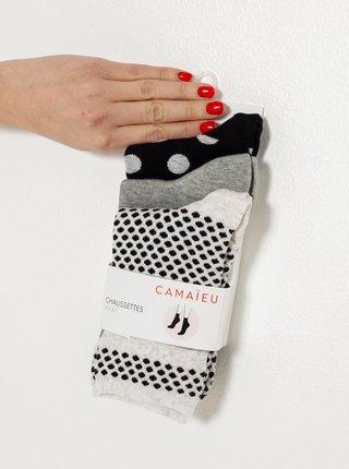 Čierno-šedé vzorované ponožky CAMAIEU