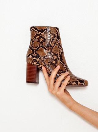 Hnedé členkové topánky so zvieracím vzorom CAMAIEU