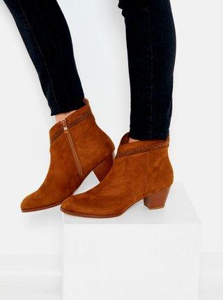 Hnedé členkové topánky v semišovej úprave CAMAIEU