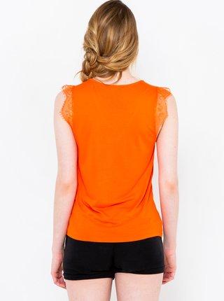 Oranžový top s krajkou CAMAIEU