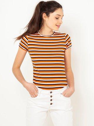 Hnedo-oranžové rebrované pruhované tričko CAMAIEU