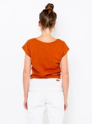 Oranžové tričko s ozdobným uzlem CAMAIEU