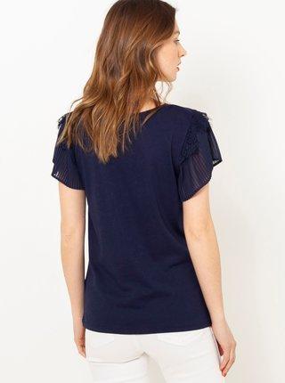 Tmavě modré tričko s plisovaným rukávem CAMAIEU