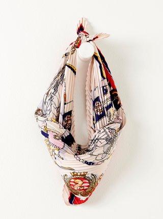 Bílý vzorovaný plisovaný šátek CAMAIEU