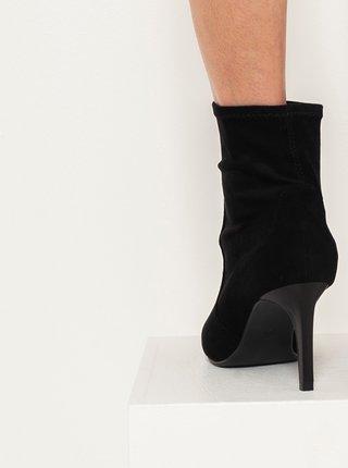 Čierne členkové topánky v semišovej úprave CAMAIEU