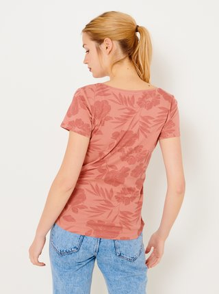 Cihlové květované tričko CAMAIEU