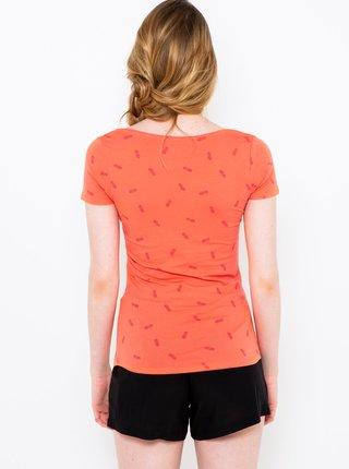 Korálové vzorované tričko CAMAIEU