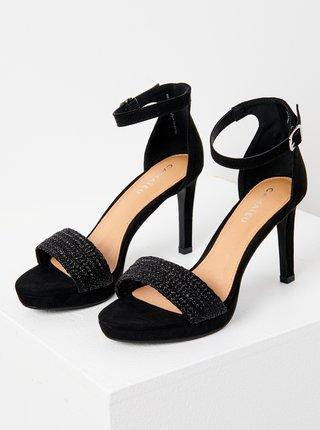 Čierne sandále v semišovej úprave CAMAIEU