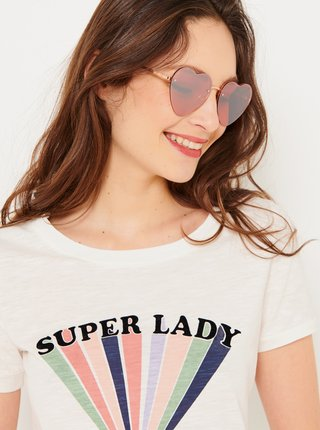 Růžovozlaté sluneční brýle ve tvaru srdce CAMAIEU