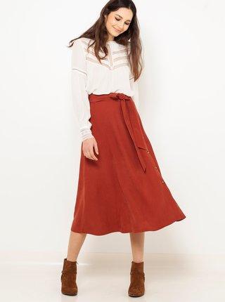 Cihlová midi sukně CAMAIEU