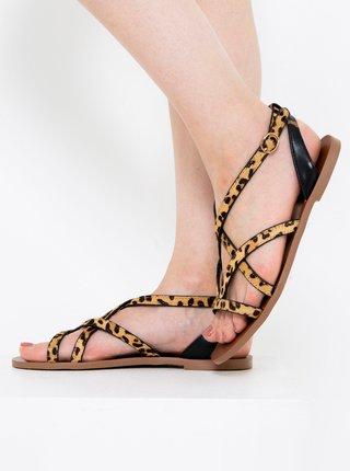 Hnědé kožené sandály s leopardím vzorem CAMAIEU
