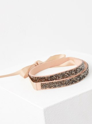 Růžový pásek s ozdobnými kamínky CAMAIEU