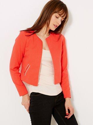Červené dámské sako s ozdobným lemováním CAMAIEU