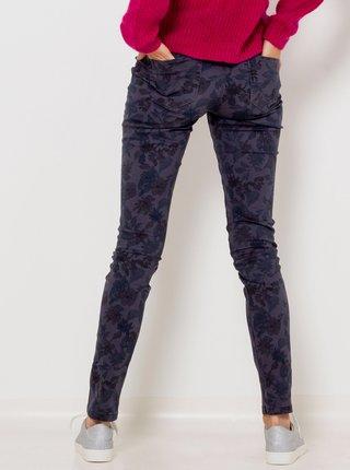 Tmavomodré vzorované slim fit nohavice CAMAIEU