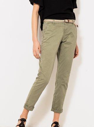 Khaki zkrácené kalhoty s páskem CAMAIEU