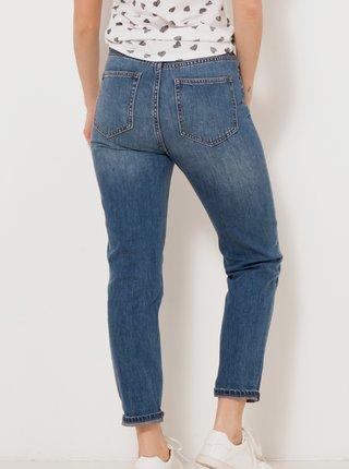 Modré zkrácené mom džíny CAMAIEU
