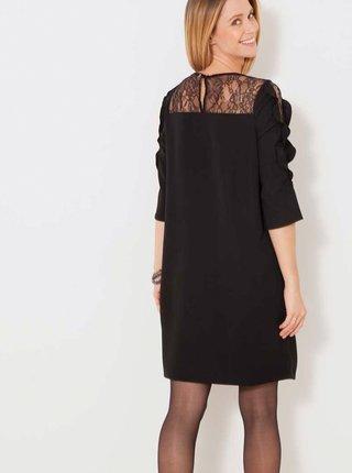 Černé šaty s krajkou a volánem CAMAIEU
