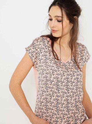 Růžové květované tričko CAMAIEU