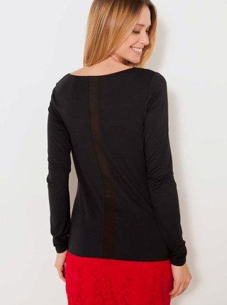 Čierne tričko s ozdobným pruhom na chrbte CAMAIEU