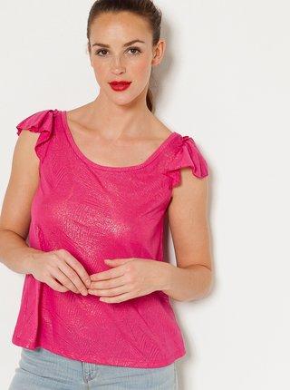Růžové lesklé tričko s volány CAMAIEU