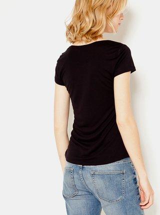 Černé tričko s krátkým rukávem CAMAIEU