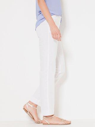 Bílé lněné kalhoty CAMAIEU