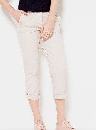 Krémové 3/4 straight fit kalhoty CAMAIEU