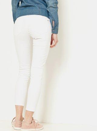 Biele skrátené slim fit nohavice CAMAIEU