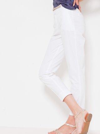 Bílé zkrácené kalhoty s vysokým pasem CAMAIEU