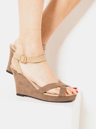 Béžové sandálky na klínku v semišové úpravě CAMAIEU