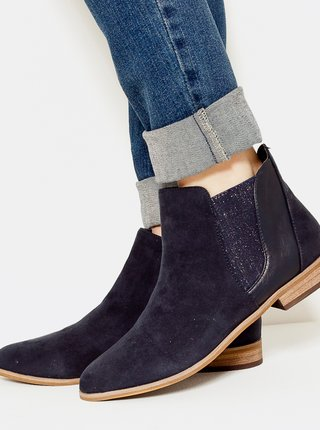 Tmavomodré chelsea topánky v semišovej úprave CAMAIEU