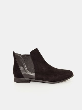 Čierne chelsea topánky v semišovej úprave CAMAIEU