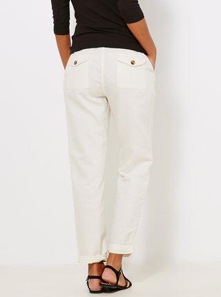 Biele nohavice s prímesou ľanu CAMAIEU