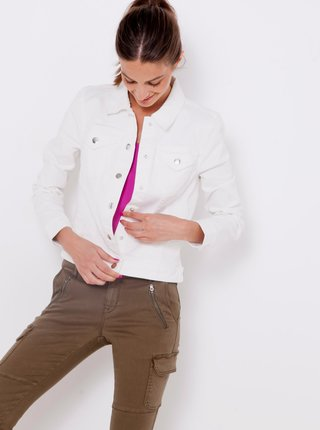 Bílá džínová dámská bunda s ozdobným vyšíváním na zádech CAMAIEU
