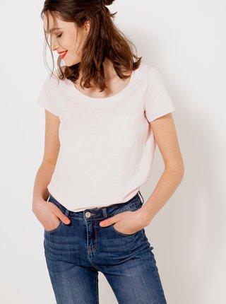 Světle růžové tričko s kapsou CAMAIEU