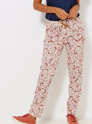 Světle růžové květované kalhoty CAMAIEU