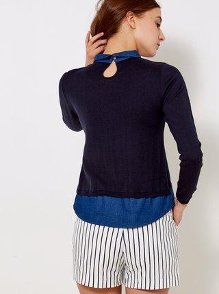 Tmavomodrý sveter s všitou košeľovou časťou CAMAIEU