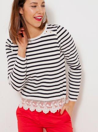 Bielo-čierny pruhovaný ľahký sveter so zdobením CAMAIEU