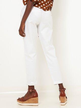 Biele skrátené straight fit nohavice CAMAIEU