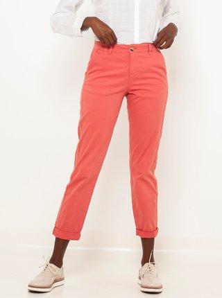 Růžové zkrácené straight fit kalhoty CAMAIEU